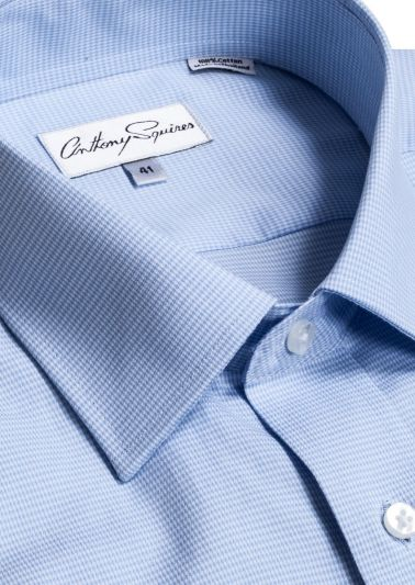 Luka Business Shirt | Blue Houndstooth