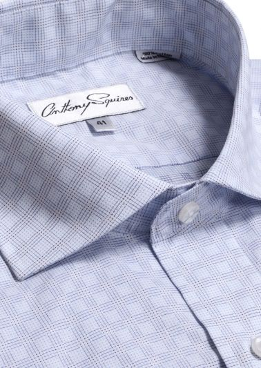 Bruce Business Shirt | Blue Grid